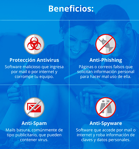 Beneficios: Protección antivirus, Anti-Phoshing, Anti-Spam, Anti-Spywere.